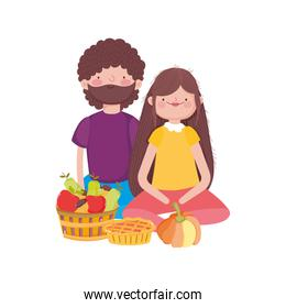 happy thanksgiving day couple sitting with pumpkin cake and fruits