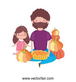 happy thanksgiving day father and daughter with cake and pumpkins