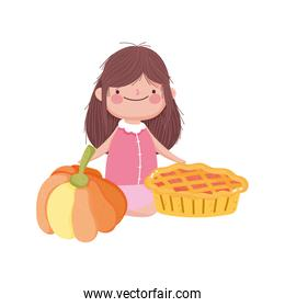 smiling  little girl with sweet pie and pumpkin