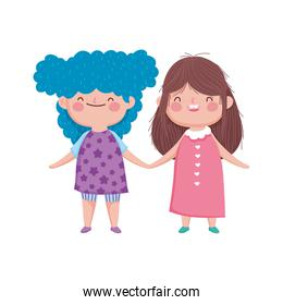 cute little girls holding hands on white background