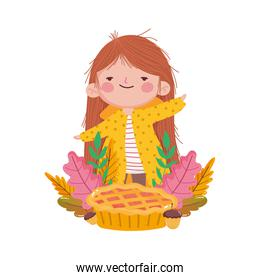 happy thanksgiving day girl with sweet cake acorn fall leaves