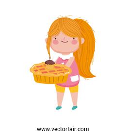 happy thanksgiving day cute little girl holding pie and acorn