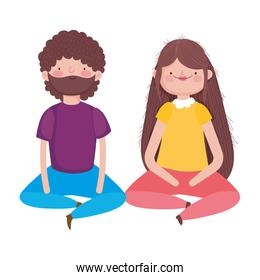 couple sitting characters on white background