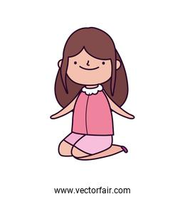 cute little girl on the knees cartoon