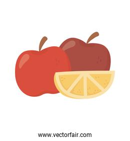apples and slice lemon on white background