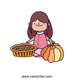 happy thanksgiving day cute little girl with sweet pie and pumpkin
