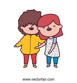 cute little boy and girl hugging on white background