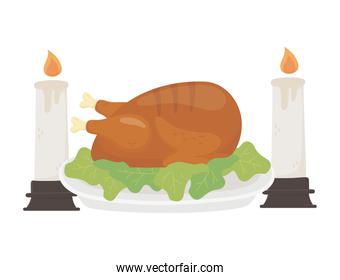happy thanksgiving day baked turkey burning candles dinner