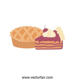 happy thanksgiving day sweet pie and slice cake