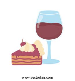 wine glass cup and slice cake on white background