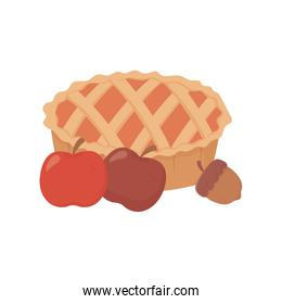 sweet pie apples and acorn on white background