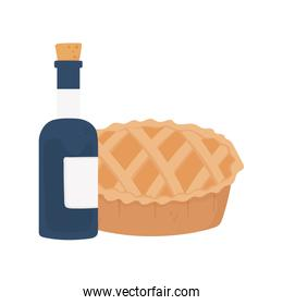 happy thanksgiving day sweet pie and wine bottle