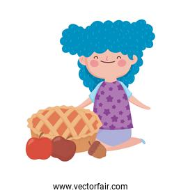 happy thanksgiving day smiling girl with pie apples and acorn