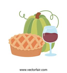 happy thanksgiving day green pumpkin cake and wine cup