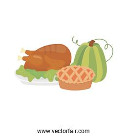 happy thanksgiving day baked turkey and green pumpkin cake