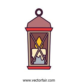 classic lamp with candle on white background