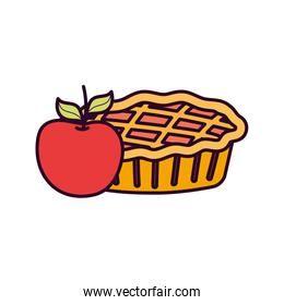 sweet pie and apple on white background