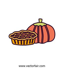 pumpkin and sweet cake on white background