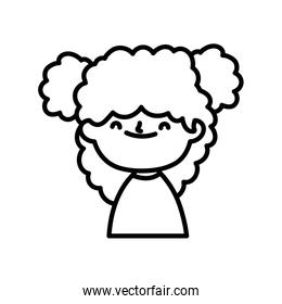 smiling cute little girl bun hair on white background thick line