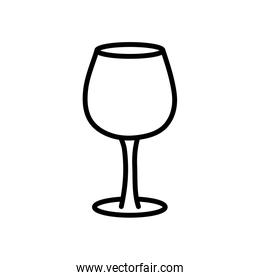 glass cup icon on white background thick line