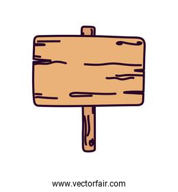 wooden sign board empty icon on white background