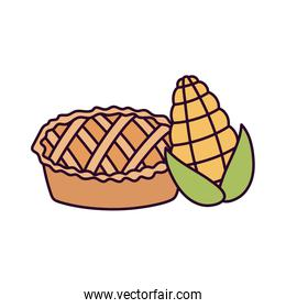 happy thanksgiving day sweet pie and corn