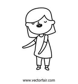 smiling cute little girl on white background thick line