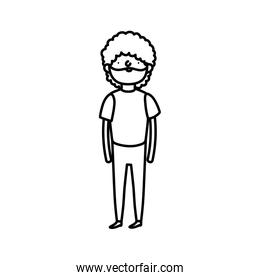 bearded man casual clothes standing on white background thick line