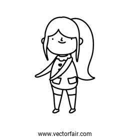 girl with long hair on white background thick line
