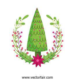 merry christmas celebration tree with balls flower holly berry