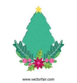 merry christmas celebration tree with star flower holly berry