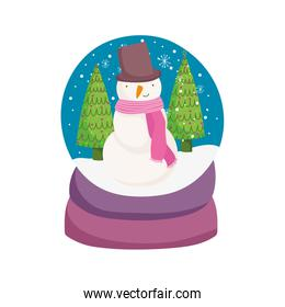 merry christmas celebration snowglobe with snowman trees snowflakes