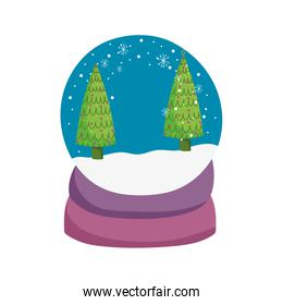 merry christmas celebration snowglobe with trees snowflakes