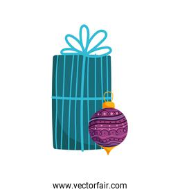 merry christmas celebration gift box and ball decoration