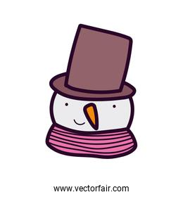 merry christmas celebration cute snowman face with hat