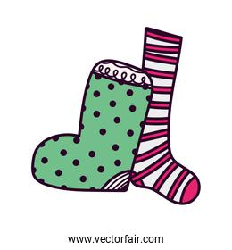 merry christmas celebration dotted and striped socks