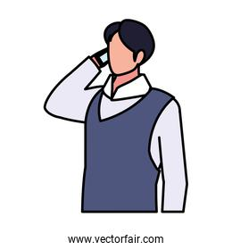 businessman faceless on white background