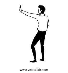 young man of back position on white background