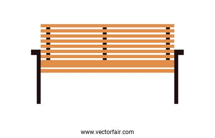 wooden park chair on white background