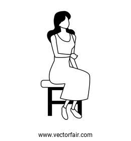 silhouette of young woman sitting in chair on white background