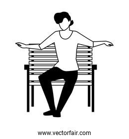 silhouette of young man sitting in chair on white background