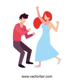 couple of people dancing on white background
