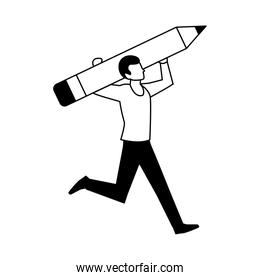 man with pencil to write on white background