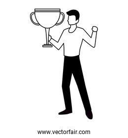 man with trophy gold in white background