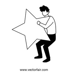 man with star golden on white background