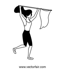woman with flag waving on a stick on white background
