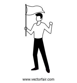 man with flag waving on a stick on white background