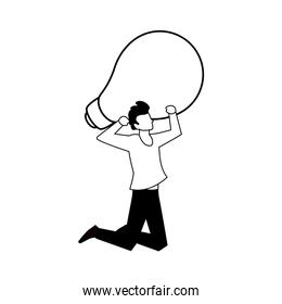 man with light bulb on white background