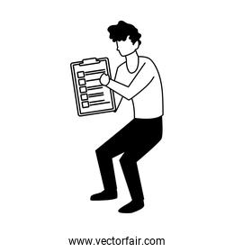 man with clipboard on white background