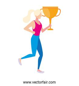 woman with trophy gold on white background